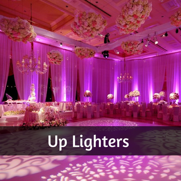 Photo of a function room set in pink by the use of up lighters and gobos. Tall globe floral centrepieces and handing floral decorations from the high ceilings create a romantic setting.