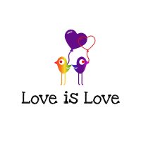 Clipart Love is Love logo of two birds back to back each holding a hart balloon from their beak which is intertwined with the other