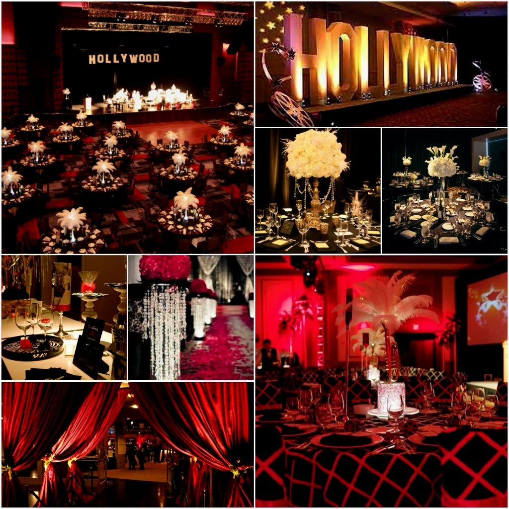 Collage of themed function rooms in gold, red and black