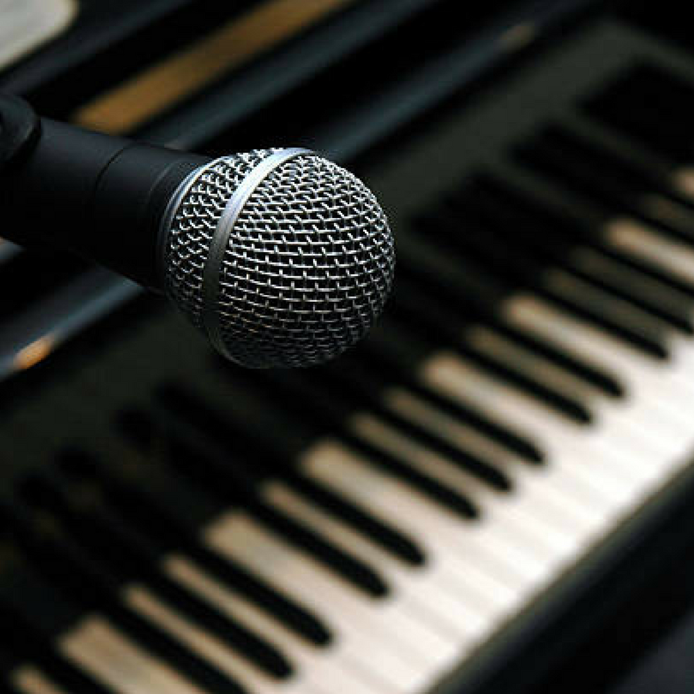 Mic and piano keys
